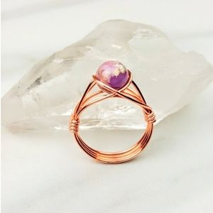 Anger • Phosphosiderite Copper Purple Crystal Ring